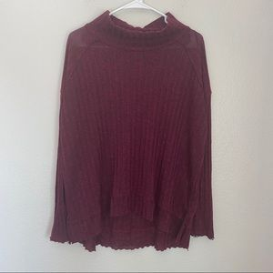 Free People Ribbed Long Sleeve Mock Neck